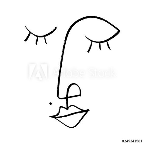 Abstract continuous one line drawing, woman face. Vector illustration Stock Vector