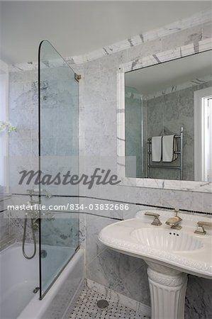 Bathroom White Marble Walls Glass Partial Wall For Shower Bathtub Marble Molding Around Mirror And Marble Crown Moul Mirrors And Marble Marble Wall Mirror