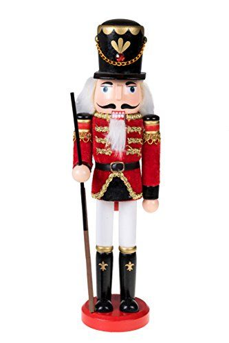 Traditional Wooden Soldier Nutcracker with Rifle by Clever Creations | Festive Christmas Decor