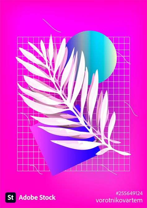 Palm leaf with abstract shapes on pink background