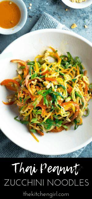 Vegan Thai Peanut Zucchini Noodles Meal Prep