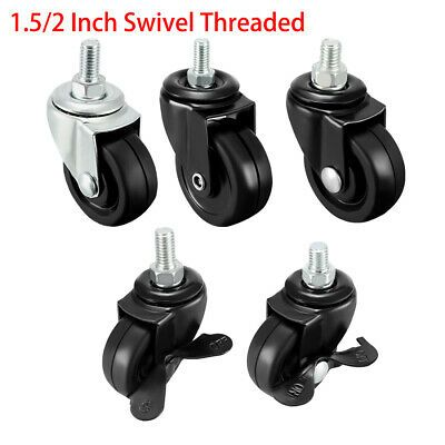 Details About 1 5 2 Inch Swivel Casters Solid Rubber 360 Degree Threaded Caster Wheels Black Swivel Caster Wheels Swivel Casters Casters Wheels
