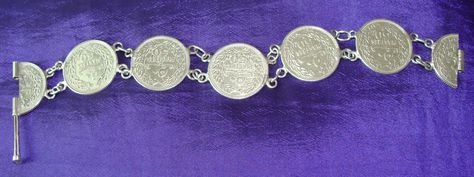 silver coins bracelet