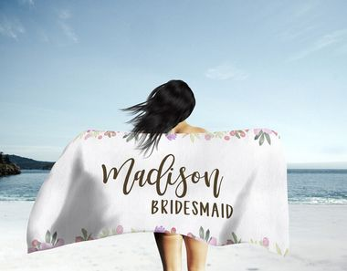 Personalized Beach Towel Floral Outline Wedding Favours