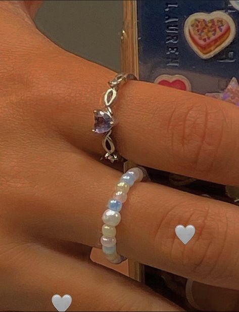 Cute Jewelry, Beaded Jewelry, Jewelry Accessories, Jewlery, Diy Beaded Rings, 90s Jewelry, Funky Jewelry, Hippie Jewelry, Trendy Jewelry