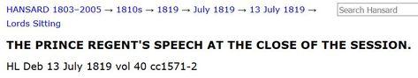Prince Regent's July 13, 1819 Prorogation Speech