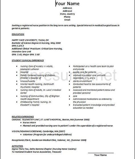 nurse new grad nursing resume professional sample examples good - critical care nursing resume