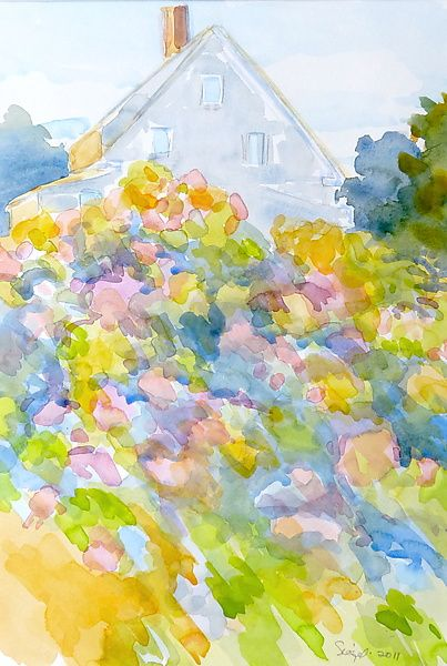Uphill Garden Iv By Suzanne Siegel Watercolor Painting Artful