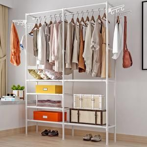 Clothes Hanger Coat Rack Floor Hanger Storage Wardrobe Clothing Drying Racks In 2020 Closet Shelf Organization Hanger Storage Wardrobe Storage