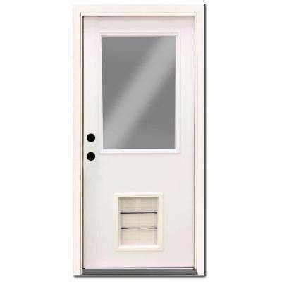 Premium 1 2 Lite Primed White Steel Prehung Front Door With Large Pet Door Steel Entry Doors Pet Door Steel Doors Exterior