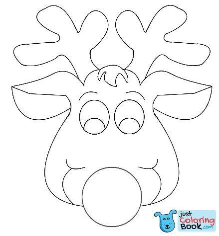 Rudolph Reindeer Face Craft For Coloring Maskeler Kuklalar