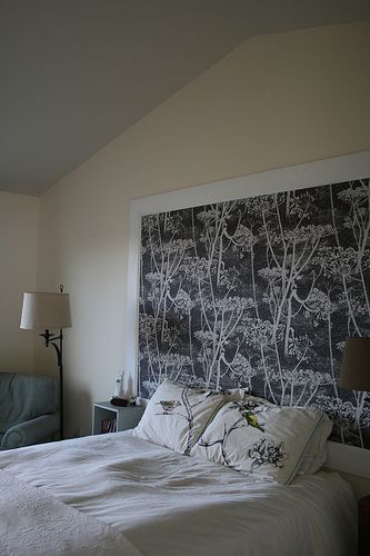 Cow Parsley wallpaper and Garden Birds fabric on pillows all available at walnut wallpaper #wallpaper