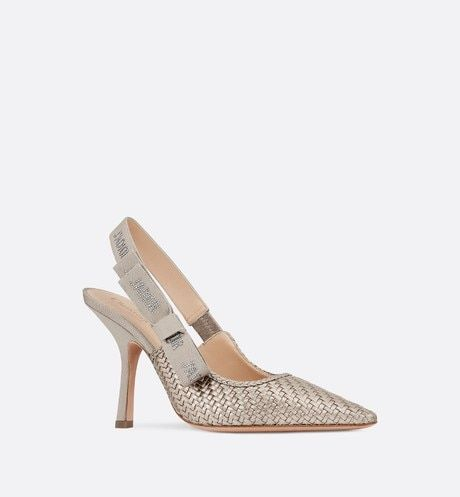 Metallic Gold J Adior Slingback Braided Lambskin Pump With Images Womens Fashion Shoes Slingback Pump Shoes