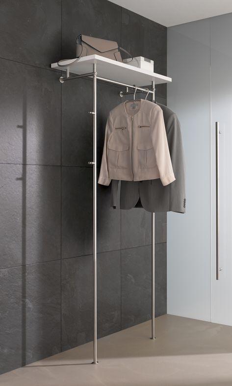Wandgarderobe Mit Glas Oder Holzablage Wandgarderobe Garderobe Edelstahl Garderobe Stander