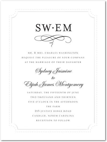 Thermography Wedding Invitations Framed Flourish by Wedding Paper