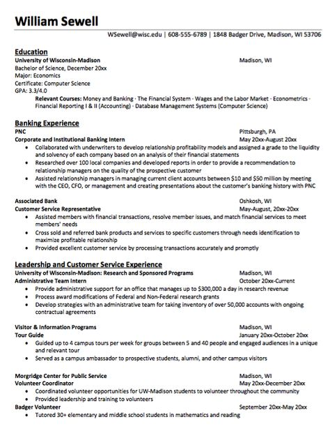 New Economics Major Resume Sample -    resumesdesign new - plant inspector resume