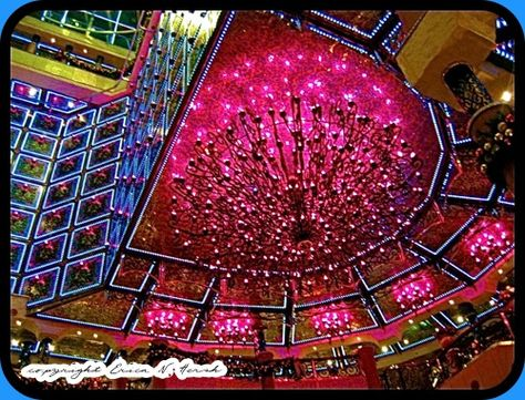 Hot Pink Chandelier on the Carnival Cruise Ship