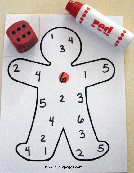 Gingerbread dice game = first one to get all the numbers wins. Do with Snowman or Snowflake