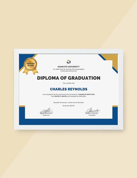 Diploma Of Graduation Certificate Template Free Jpg Google Docs Illustrator Indesign Word Apple Pages Psd Publisher Template Net Graduation Certificate Template Certificate Templates Certificate Design Template