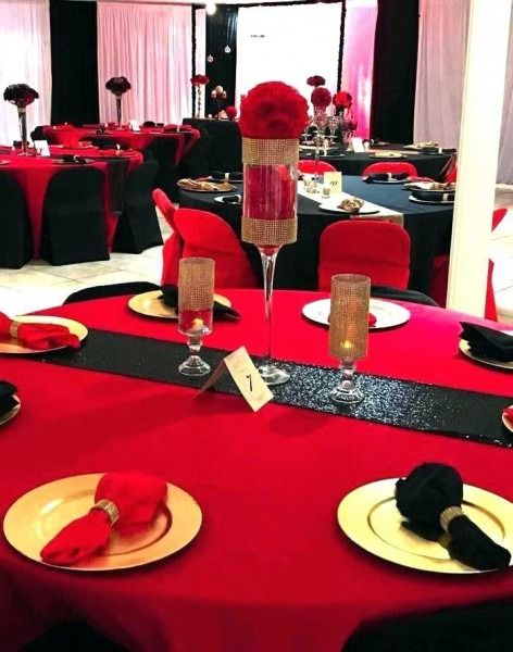 Red Black And Gold Party Ideas Red Party Decorations Red