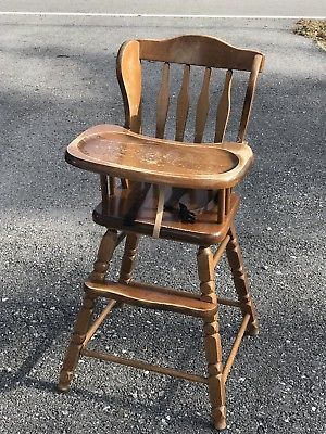 Vintage Jenny Lind Style Wooden Highchair High Chair Medium Wood