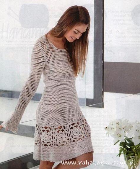 01ab04fc630 Ажурное платье крючком с цветочными вставками. Летнее женское платье схемы  и описание