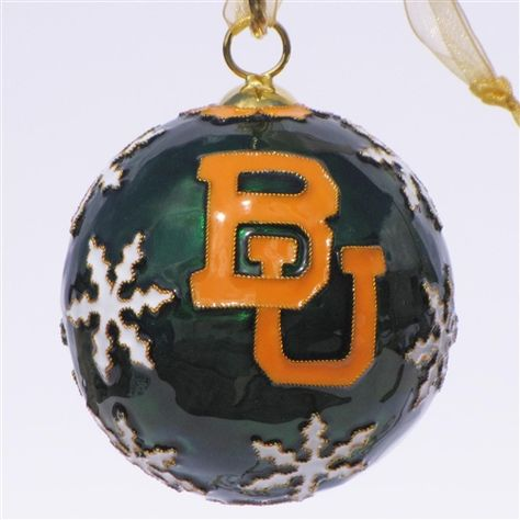 #Baylor University Round with Snowflakes Cloisonne Ornament