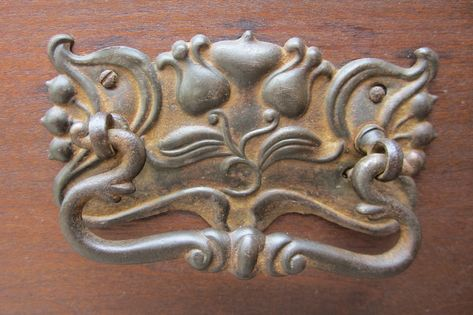 Drawer Pull Victorian Style Floral Basket Cast Brass DRAWER PULL