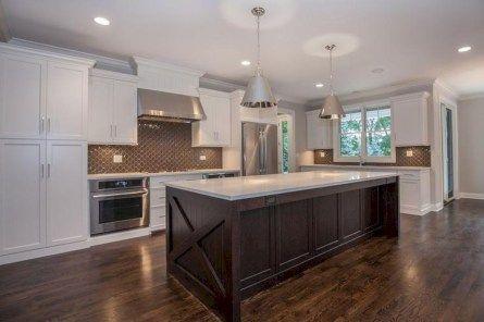 Stunning White Kitchen Cabinets With Dark Brown Island 01 White