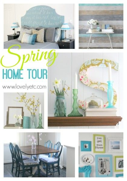 Aqua and lime happy vintage spring home tour