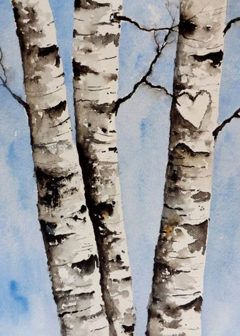 """Drawings Ideas Watercolor Original Painting,Birch Tree Heart Custom your own initials, Mothers day,fathers day, wed - Name: """"Birch Tree Heart"""" Size: x Medium: Watercolor Winsor Watercolor Trees, Watercolor Landscape, Watercolor Paintings, Original Paintings, Watercolor Wedding, Watercolor Water, Tattoo Watercolor, Acrylic Paintings, Acrylic Art"""