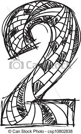 Abstract Hand Drawn Number 2 Vector