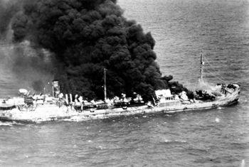 Tanker Gulfland Burning Off Hobe Sound Florida 1942 Image