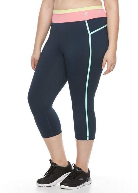 a702a22aeaba1 Plus Size FILA SPORT® Colorblock Yoga Capris | Plus Size Activewear