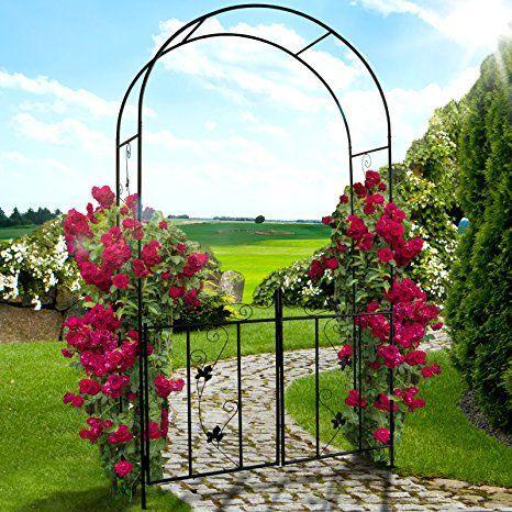 Oramics Rosenbogen Torbogen Rosenspalier Mit Turen Und Bodenverankerung Schwar Garden Archway Climbing Plants Garden Arch