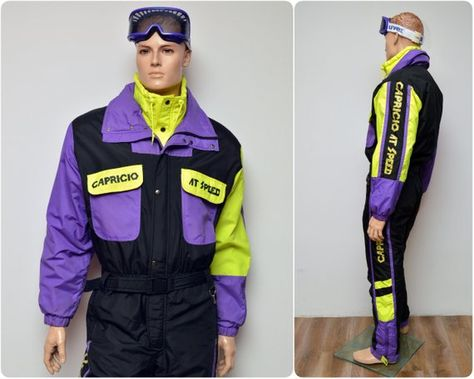 e3fff2853c rad 80s neon SKI SUIT by CAPRICIO   onesie all in one overall onepiece    mens size L large   skiwear   ski clothing jumpsuit snowsuit