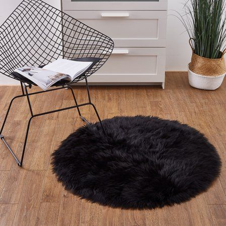 Deluxe Super Soft Faux Fur Black Round Area Rug Indoor Ultra Soft