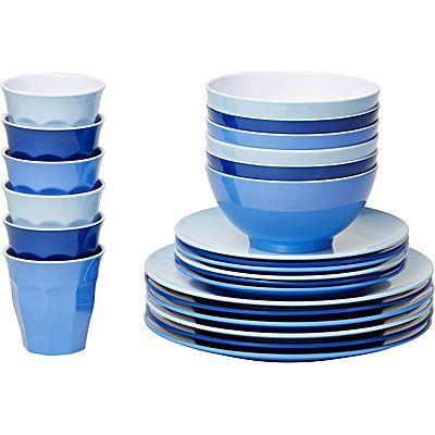 Barel Classic Melamine 24 Piece Dinner Set Glacier Outdoor Dinnerware Dinner Sets Outdoor Dinner