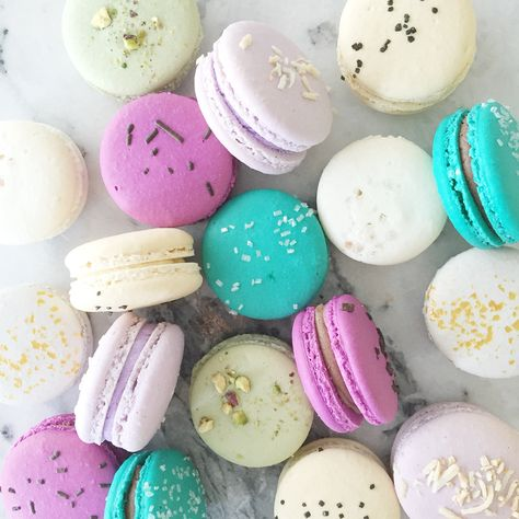 A colourful assortment of French #macarons by Jenna Rae Cakes
