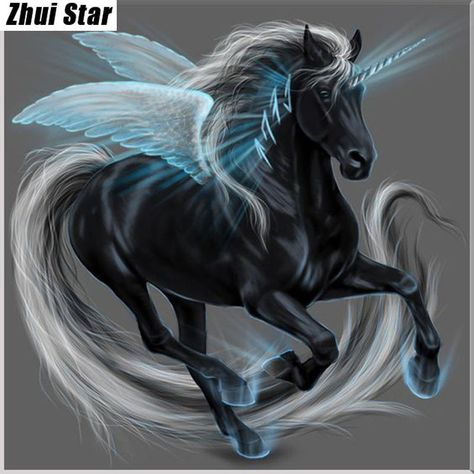 5D DIY Diamond painting kit.  Black Pegasus, flying horse.  Square drill, 5 kit sizes to pick from.
