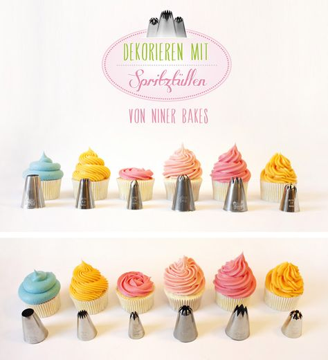 deco ideas for cupcake frosting with tutorial how to do them - by Niner Bakes at Torten Dekorieren