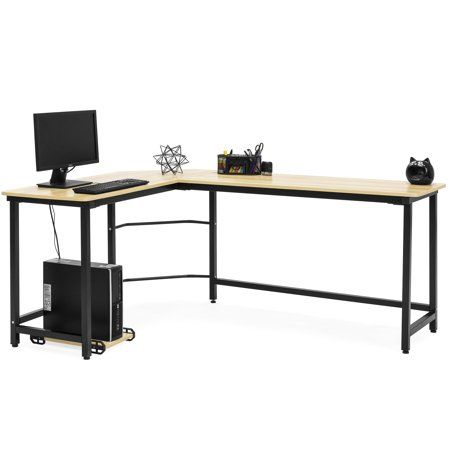 Best Choice Products Modern L Shaped Corner Desk W Cpu Stand Light Brown Walmart Com L Shaped Corner Desk Stand Light Desk