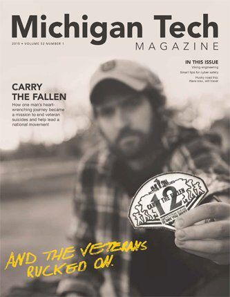 The Spring 2015 Michigan Tech Magazine cover story details the quest of  veteran alum Justin Fitch