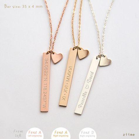 Vertical Bar Necklace, Bar Drop, Nameplate Necklace, Bridesmaid Gift, Silver Bar Necklace, Rose Gold Bar Necklace, Gold bar necklace ZN00110