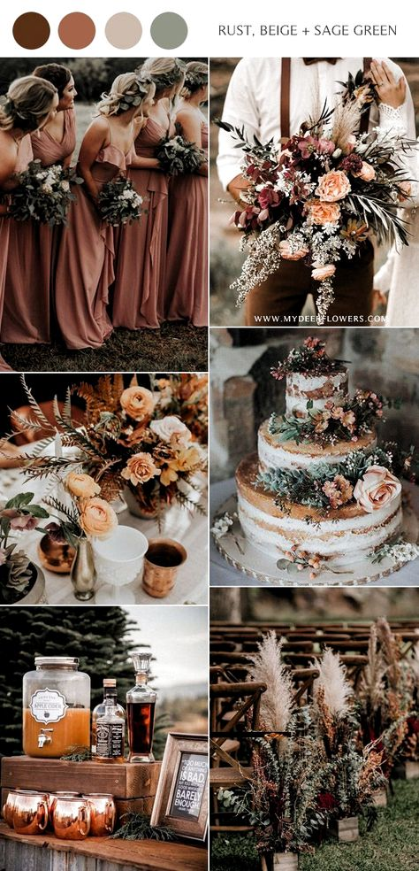 rust dusty orange beige and sage green wedding color ideas Orange Wedding Colors, Rustic Wedding Colors, Sage Green Wedding, Fall Wedding Colors, Wedding Color Schemes, Wedding Ideas Green, Modern Wedding Ideas, Rust Color Schemes, Green Weddings