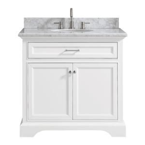 Home Decorators Collection Windlowe 37 In W X 22 In D X 35 In H Bath Vanity In White With Carrera Marble Vanity Top In White With White Sink 15101 Vs37c Wt With Images