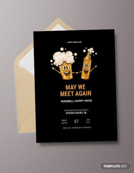 Happy Hour Invitation Sample : happy, invitation, sample, Farewell, Happy, Invitation, Template, [Free, Apple, Pages, Illustrator, Publisher, Template,, Party, Invite, Invitations
