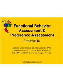 Functional Behavior Assessment  Preference Assessment  Aba