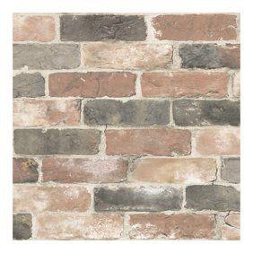 Roommates Stuccoed Dark Red Brick Peel And Stick Wallpaper Walmart Com Rustic Wallpaper Reclaimed Brick Faux Brick