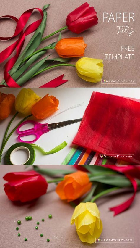 How To Make Tissue Paper Tulip Free Template So Easy Tissue